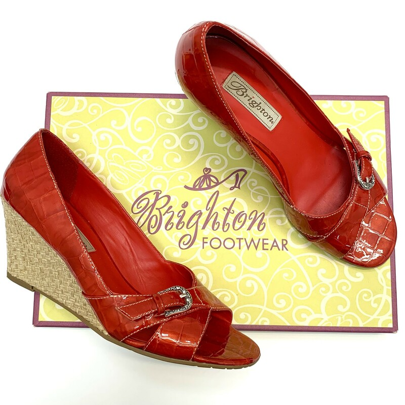 Brighton Riva Wedges Candy Apple red Patent Leather Woven straw wedge Size: 8.5