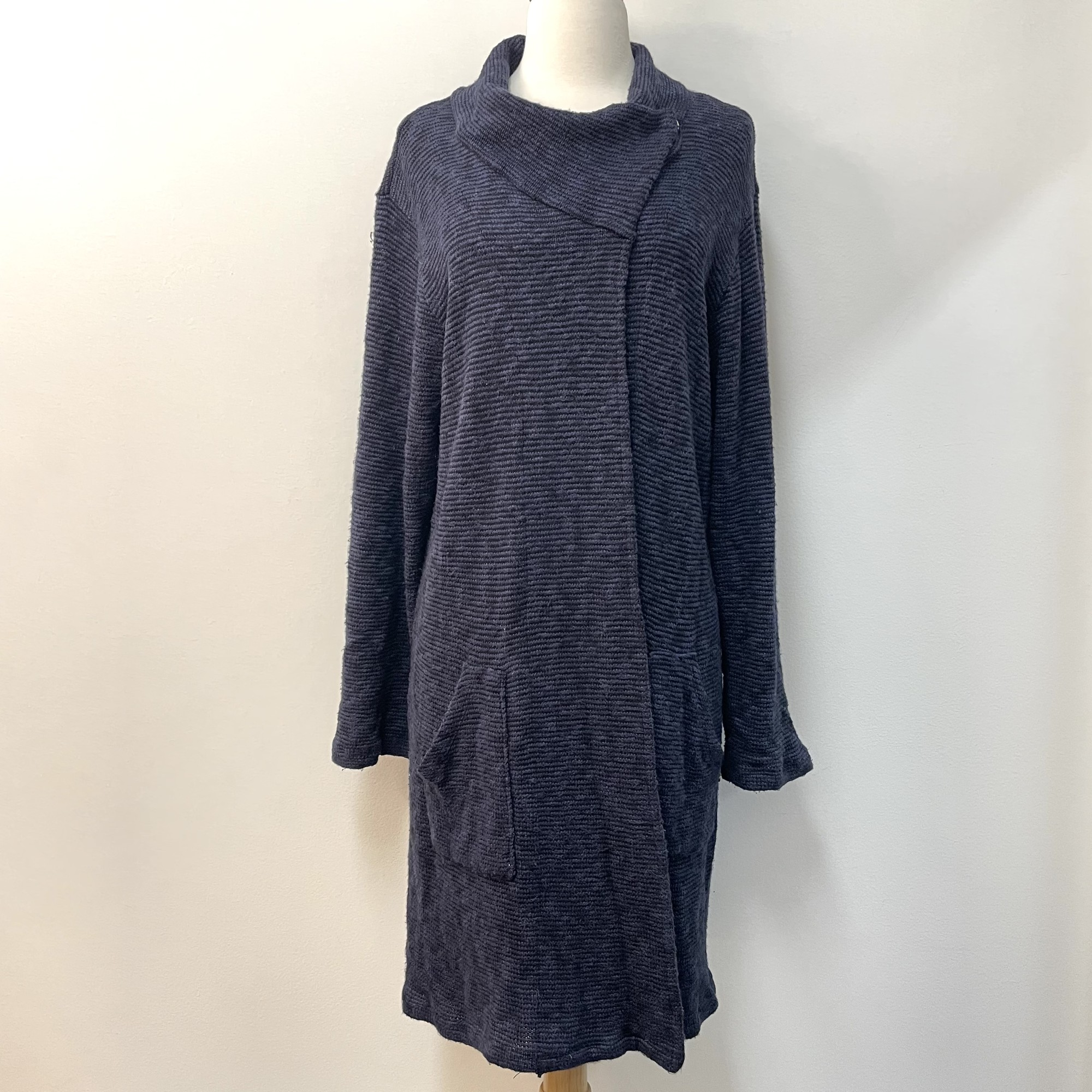 Blue Canoe Cowl Snap Cardigan<br /> With Pockets!<br /> Navy & Black<br /> Size: Large