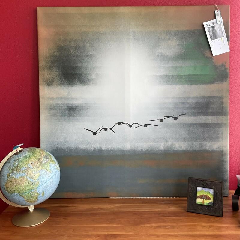 Parvez Canvas -Birds, GreyBlue, Size: 48x48