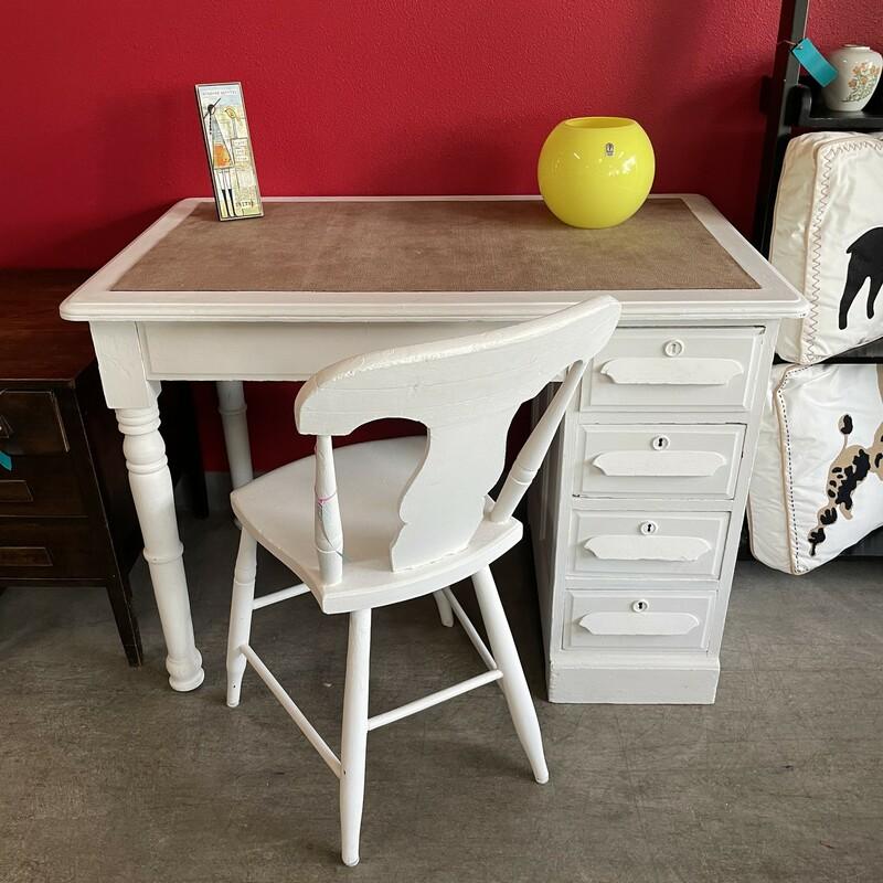 Vintage Painted Desk/Chai, White, Size: 42.26.30