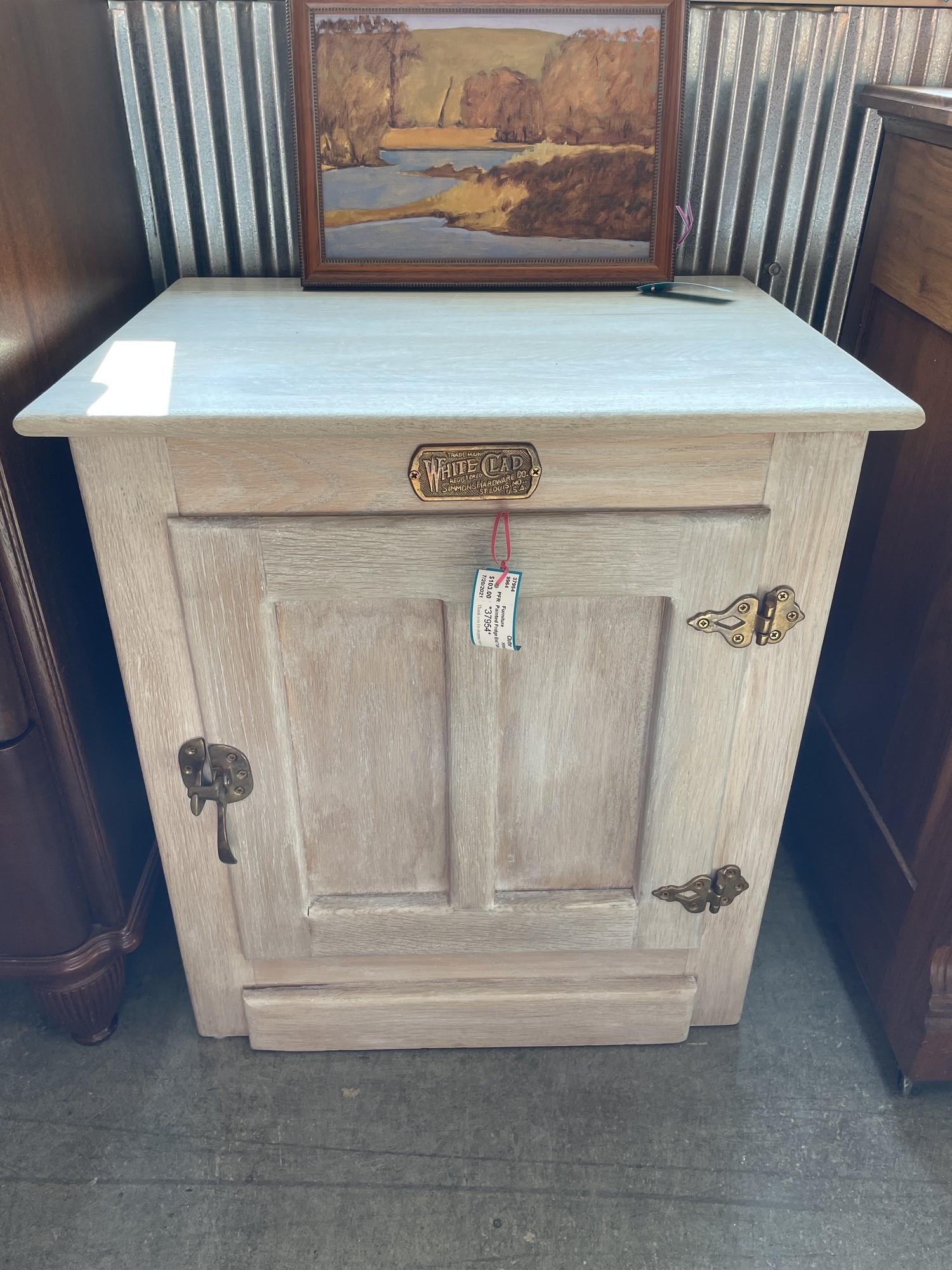 Painted Fridge End Table, WhiteCla, Size: 22.16.24