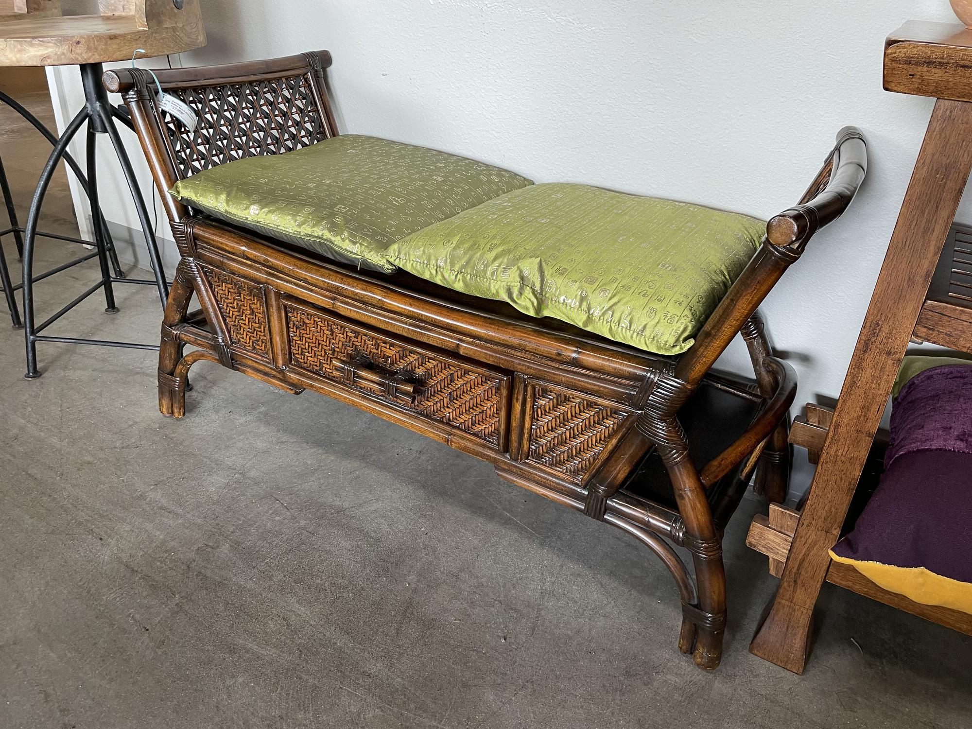 Rattan Bench W/Drawers, GreenCus, Size: 40.18.18
