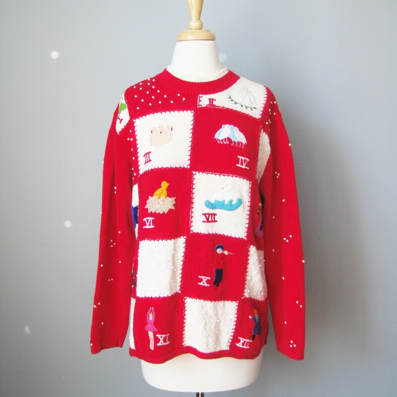 Cute vintage christmas sweater in red depicting the 12 days of Christmas. Embellished with 'pearls' on sleeves  made by Studio Fa La La , cotton ramie blend size L armpit to armpit: 25in length: 21.75 Excellent vintage condition. Small stains on some of the white areas. VERY MINOR did not show up in any photos only visible upon close inspection  Thanks for looking!