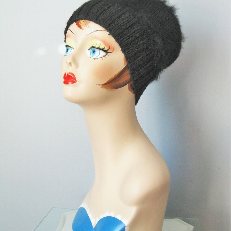 Just a cute black hat made from warm Angora. No tags. Stretchy. Inner hat band measures #21 Thanks for looking #10837