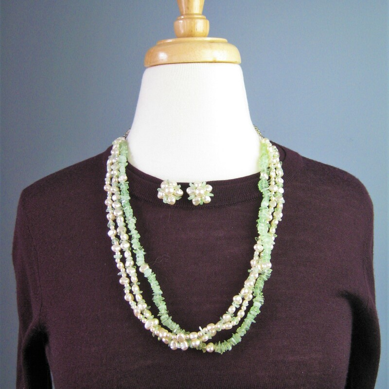 In the old days, ladies always matched their outfits carefully including their jewelry This set was not necessarily purchased together but look perfect together Multistrand necklace w green & white stone chips & matching clip earrings w faux pearls & green bits The necklace can be twisted and worn as a torsade choker. It has an extender section on the chain so you can play with the length. As shown, the necklace is 26in long. The earrings are 3/4in across.  Thanks for looking!