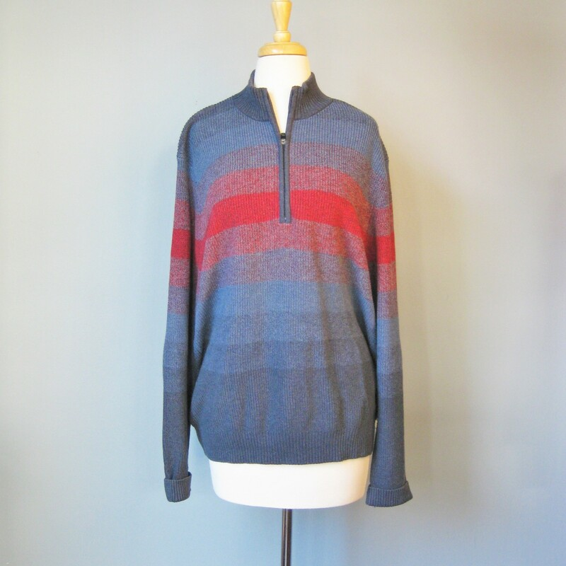 IZOD Henley style sweater in subtle ombre stripes with a zippered neck 100% Cotton Zips from neck to upper chest EUC Size Large  armpit to armpit: 23in length: 27.75in  thanks for looking! #15230