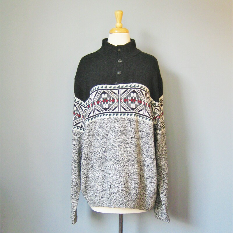 Chaps Henley style ski sweater in black and white with a touch of red 100% Cotton Buttons from neck to upper chest EUC Size Large  armpit to armpit: 26in length: 29in shoulder to shoulder: 21in underarm sleeve seam: 21in  thanks for looking! #15231