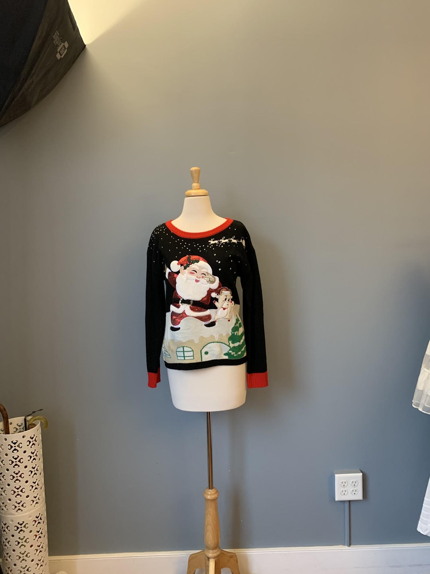 Ugly Christmas Santa, Blk/Red, Size: Medium