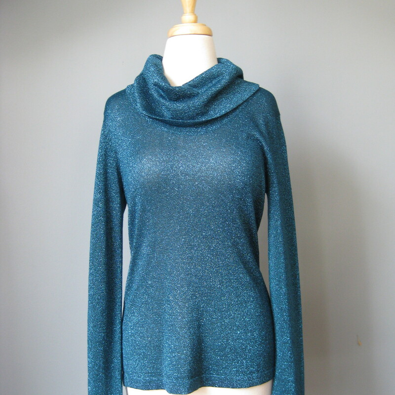 Coldwater Creek Glitter, Blue, Size: Small wide, fold over funnel neck design with metallic glitter fabric. semi sheer