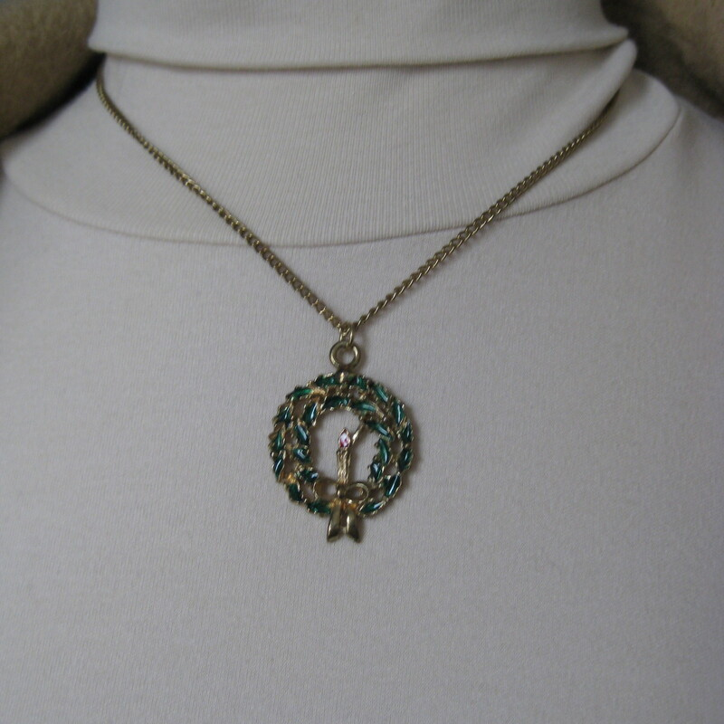 Christmas Wreath, Gold, Size: None. cute necklace with greens and red accents. Perfect for completing a holiday look!