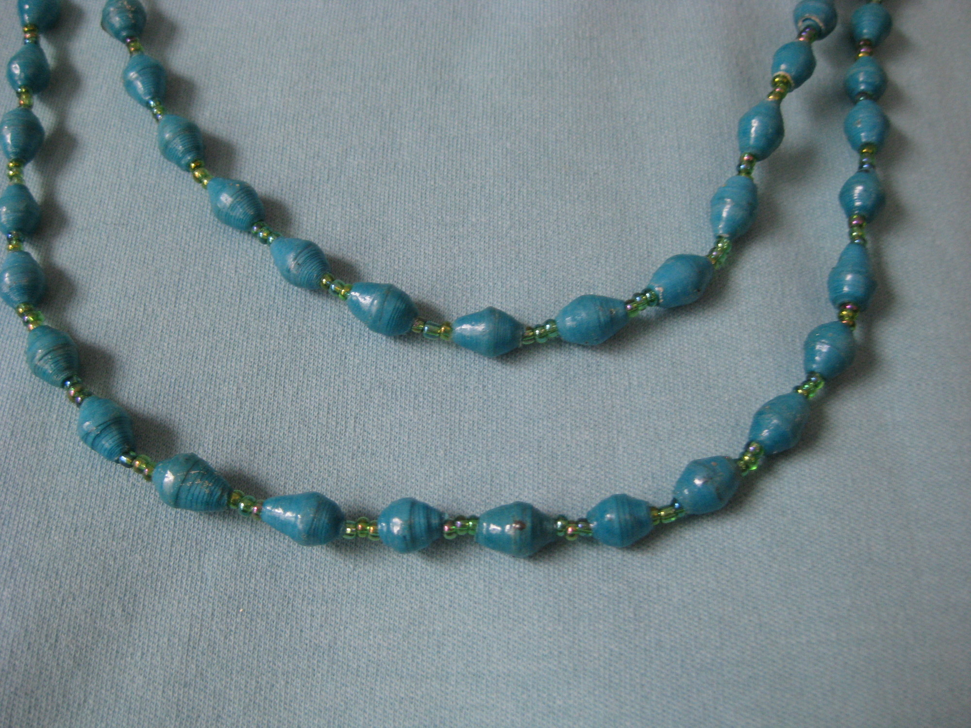 Blue Paper? Beads, None, Size: None<br /> stackable, layer-able, light weight station necklace.