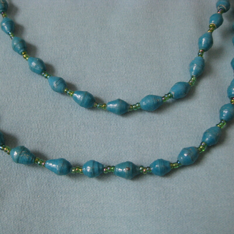 Blue Paper? Beads, None, Size: None stackable, layer-able, light weight station necklace.