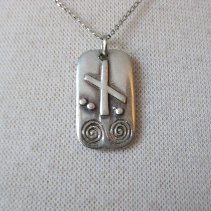 Delicate sterling silver pendant choker length necklace Chain and pendant are both sterling The pendant is decorated with tribal symbols chain is 18in long  thanks for looking! #35322