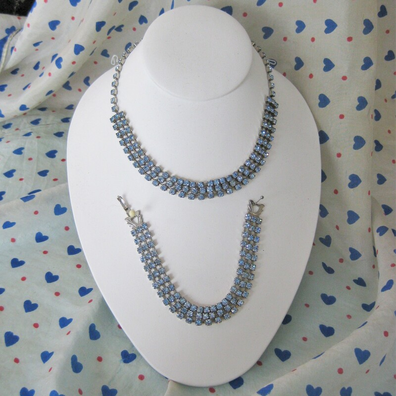 Pretty blue rhinestone set Choker length necklace and matching bracelet each has three rows of small square blue rhinestones in metal settings. necklace: 15.25in bracelet: 7in  Thanks for looking! #36069