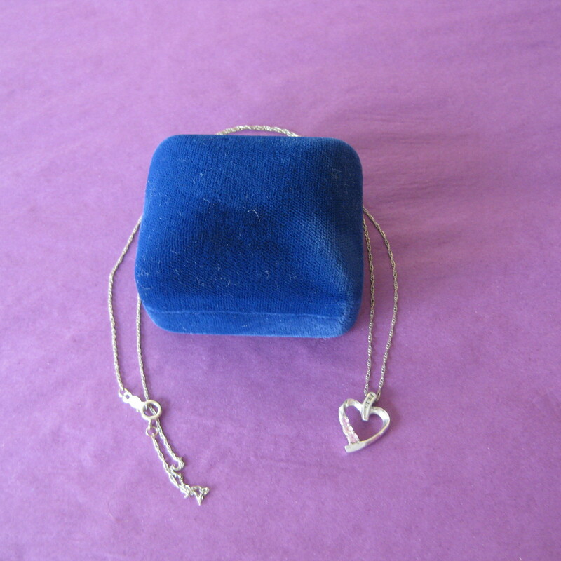 White Gold Heart, White, Size: None A sweet necklace, a super gift for your special girl 14kt white gold chain with a 10K white gold hear pendant decorated with three tiny dimonds and three pink tourmlines.  pre-owned excellent condition. comes with pretty blue velvet presentation box.  thanks for looking! #37671