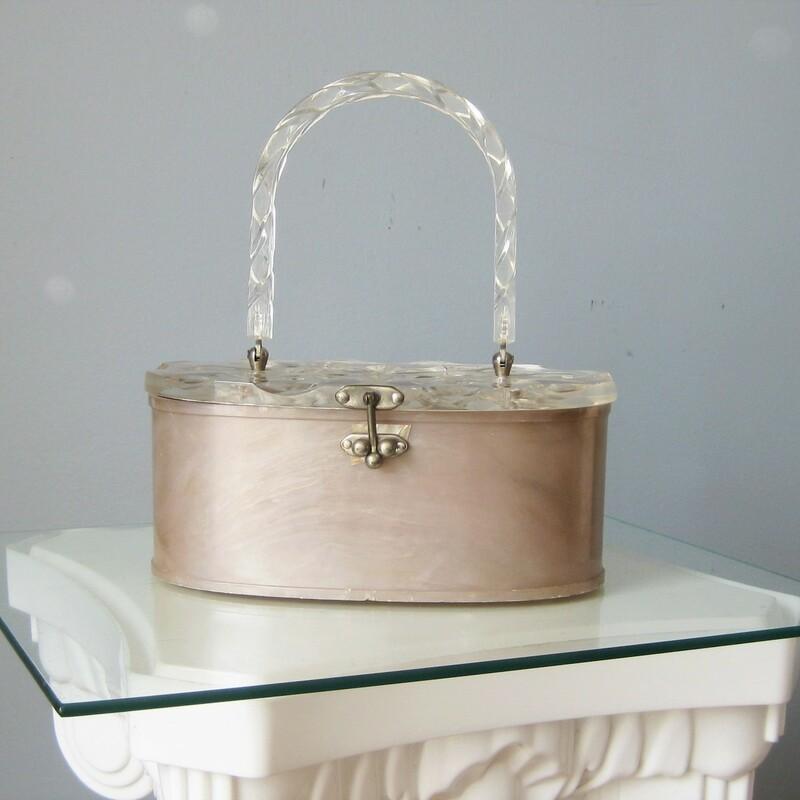 Vtg 50s Lucite Box Bag