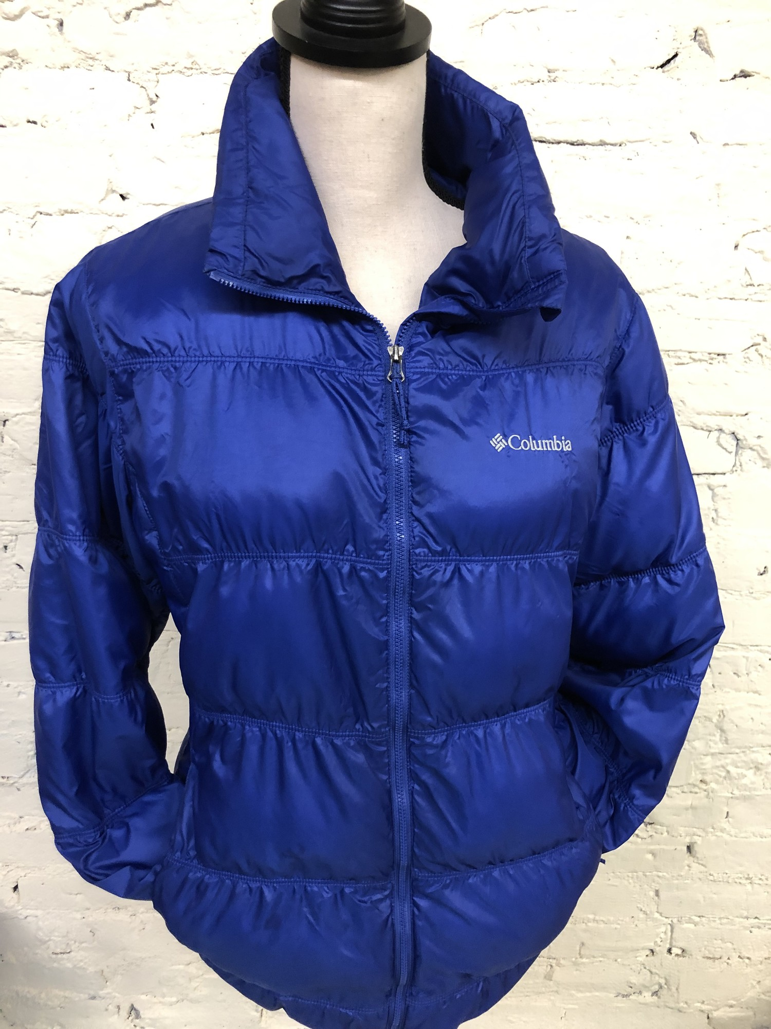 Columbia jacket<br /> Size medium<br /> Purple in color<br /> Puffer type jacket<br /> Sleeve length is approx 22 inches<br /> Jacket length is approx 17 inches<br /> Shoulder to shoulder is approx 16 inches<br /> 100% Polyester