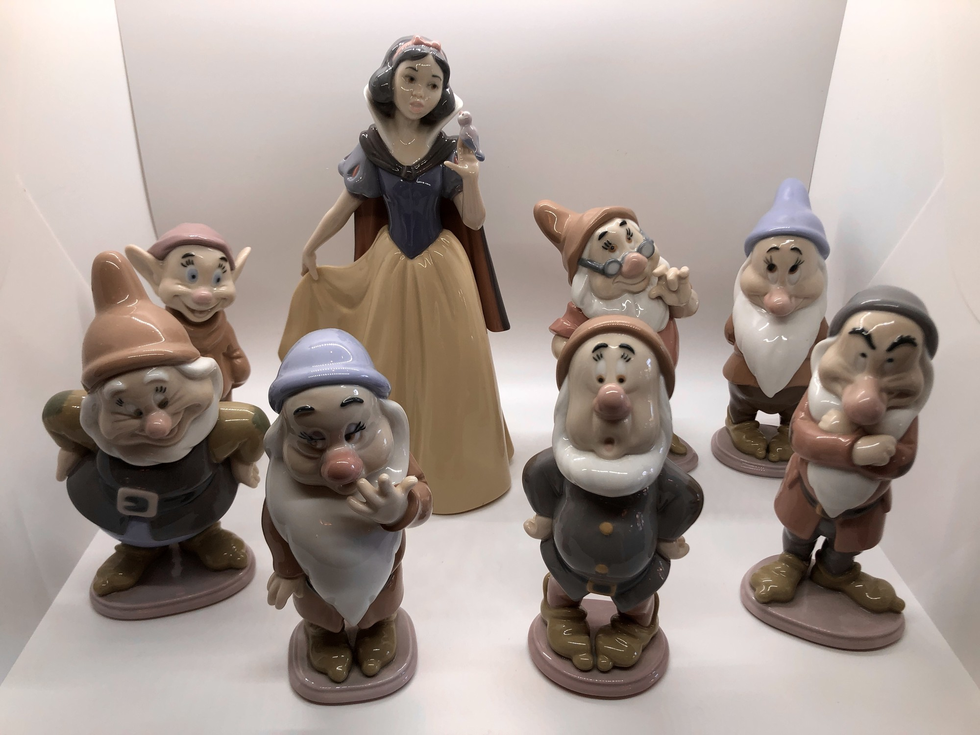 """This is the entire set of Lladro \""""Snow White and the seven Dwarfs, Signed and with their original boxes. Set/8. They were issued from 1990-1994. They are over $325-350 each individually but I am selling the set for what equals $300 each.<br /> Local pickup only."""
