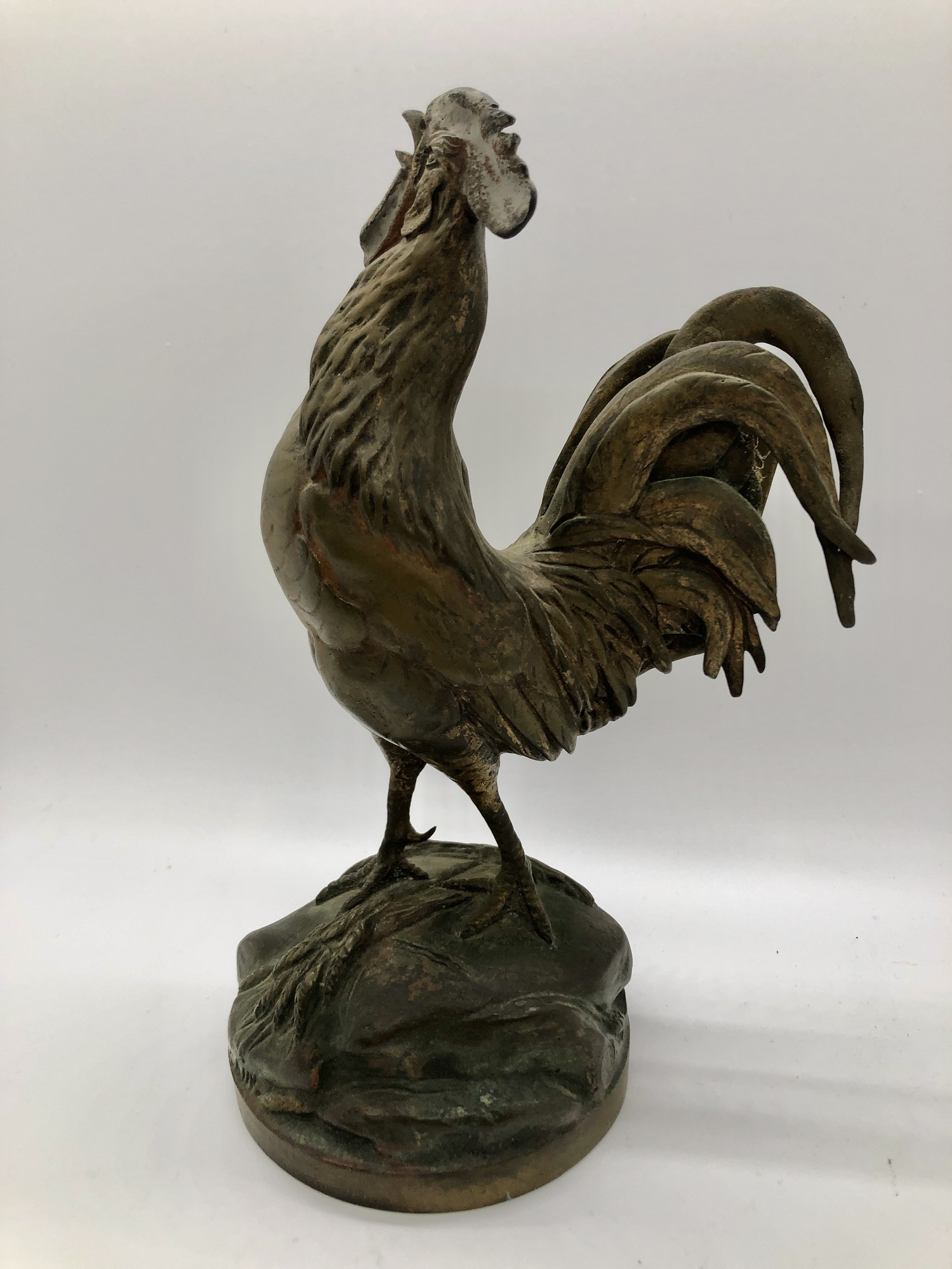 """Wonderful Bronze by Auguste Cain (1822-1894) titled \""""Le Reveil\"""" (The Awakening), Foundry marks. This one was given as a prize and is marked \""""The Gushee Trophy 1929 Tennis Men's Singles Champion of the U.S. Runner Up\"""""""