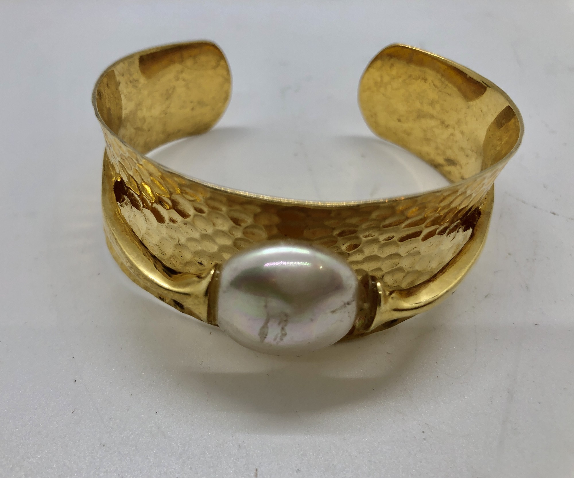 Vintage Hammered Sterling Vermeil wide cuff bracelet with a large Freshwater Pearl.