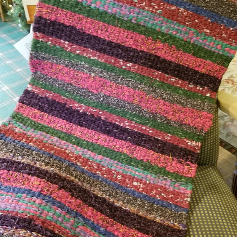Rag Rug 48x24 Multi Color,hand woven cotton rags,  using the twining method