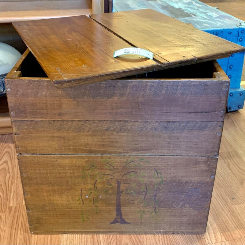 Stenciled Tree Box - $48.50 17.5IN Square. Perfect for newspapers, kindling, etc.