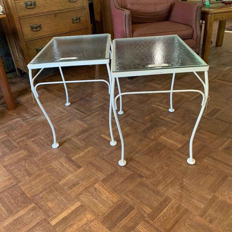 White Iron Side Table