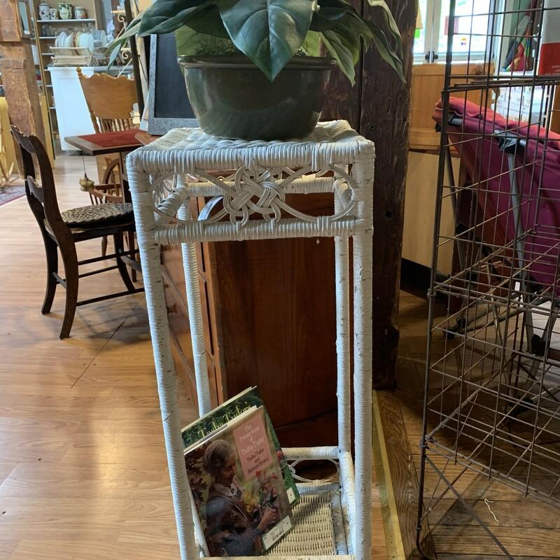 White Wicker Plant Stand
