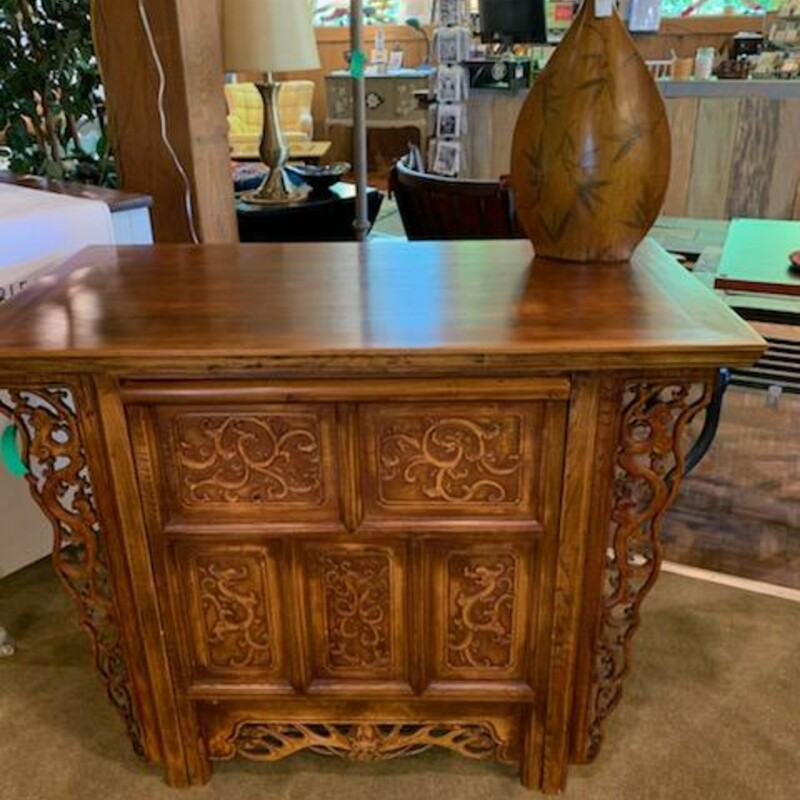 Oriental Desk And Chair Unique custom made desk with chair that slides in to create the appearance of a console table