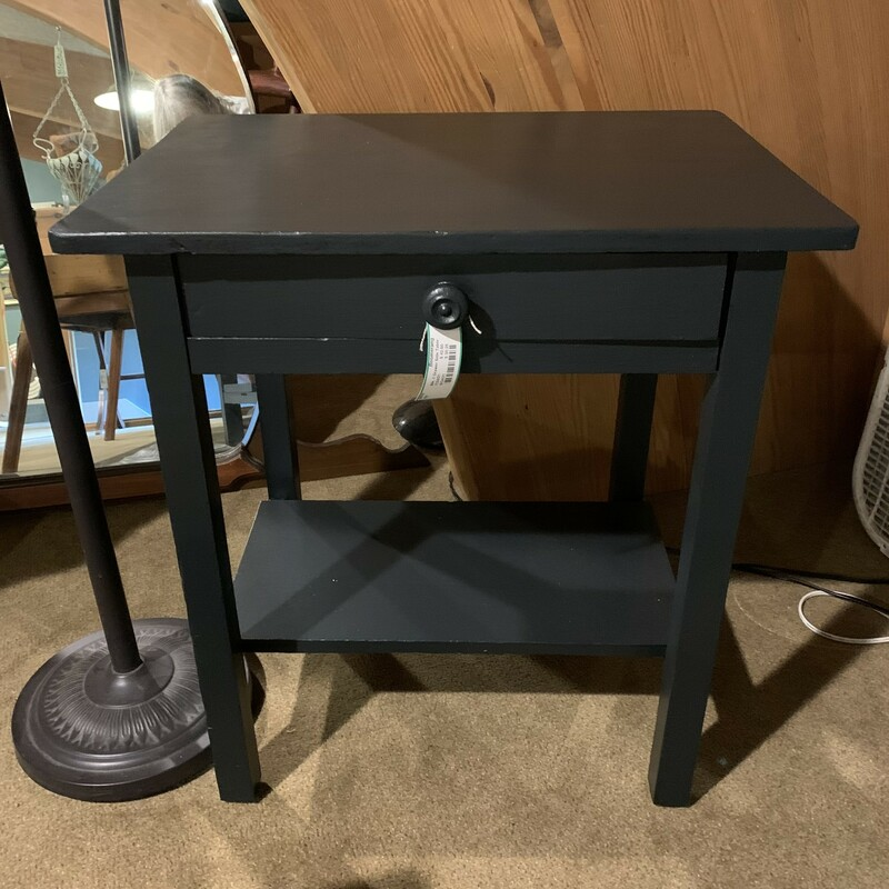 """Black One Drawer Side Table Size: 24\"""" x 17\"""" x 26\"""" Nicely painted side table with one drawer.  Could be used in almost any room."""