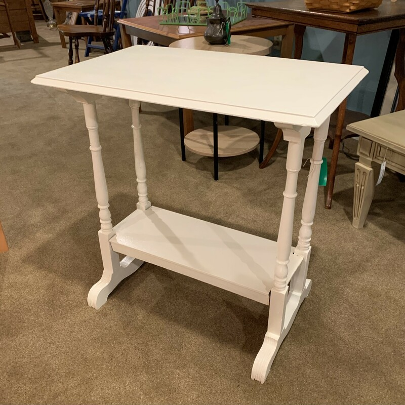 """White Side Table Size: 26\"""" x 16\"""" x 28\"""" Nicely painted antique white side table with one shelf below.  Great accent to any room!"""