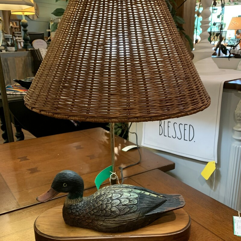 """Handmade Wood Duck Lamp  Size: 23\"""" Tall Handmade carved duck with original paint and a wicker lampshade.  Would look great at your camp!!"""
