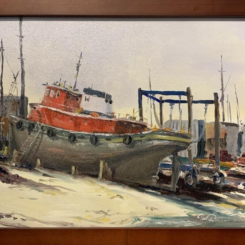 "Title: Tug, Artist: Tom Duntemann, Medium: Oil, Size: 13\""x10\"" Framed"