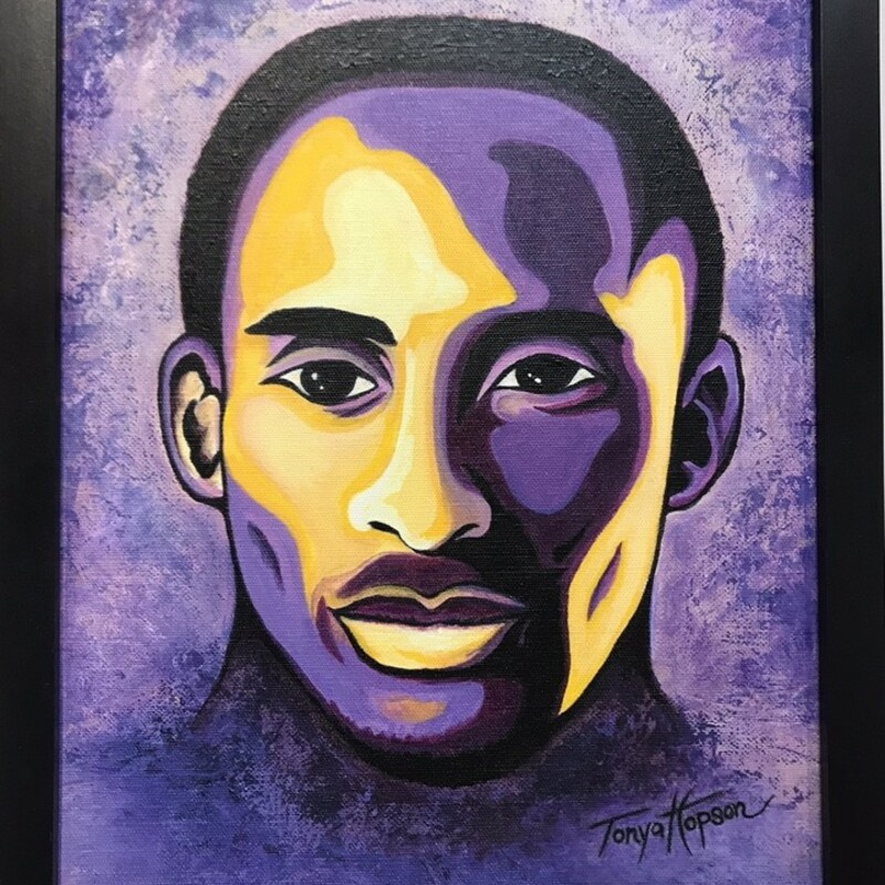 Title: Kobe Artist: Tonya Hopson Size: 11x14 Medium: Acrylic Statement: In memorandom of Kobe Bryant an amazing life remembered. Acrylic painting in Lakers colors with black frame.