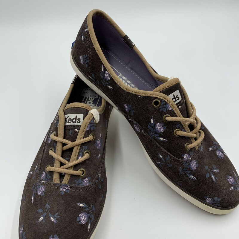 Keds Suede Floral NWT, Brown/na, Size: 8