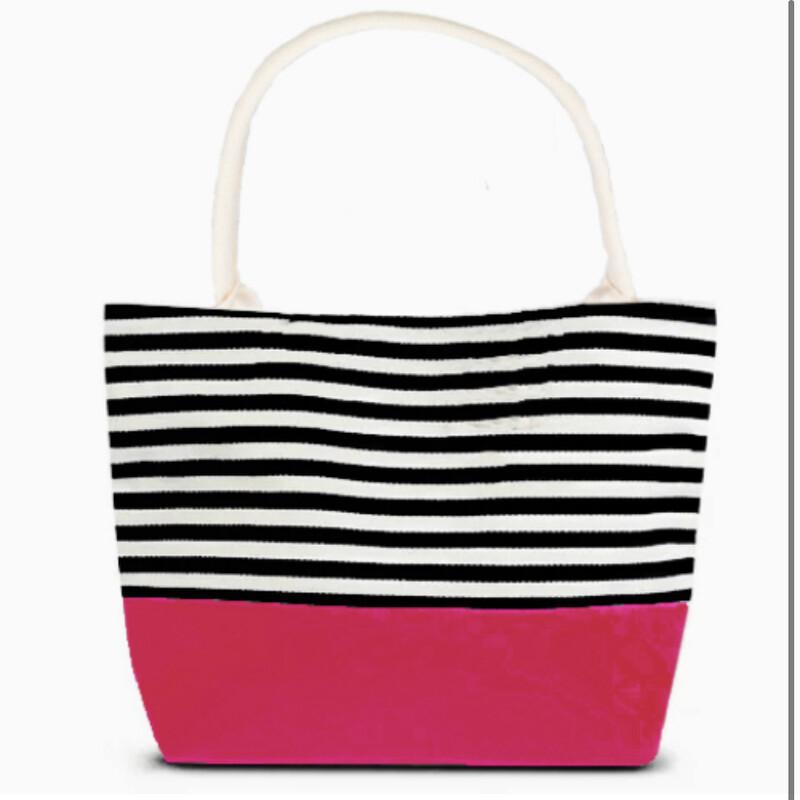 Beach Bag, Blk/pink, Size: L