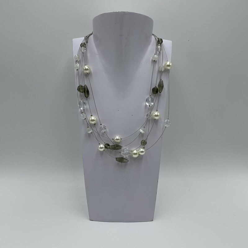 Necklace Layered, Slvr/wht, Size: N/a