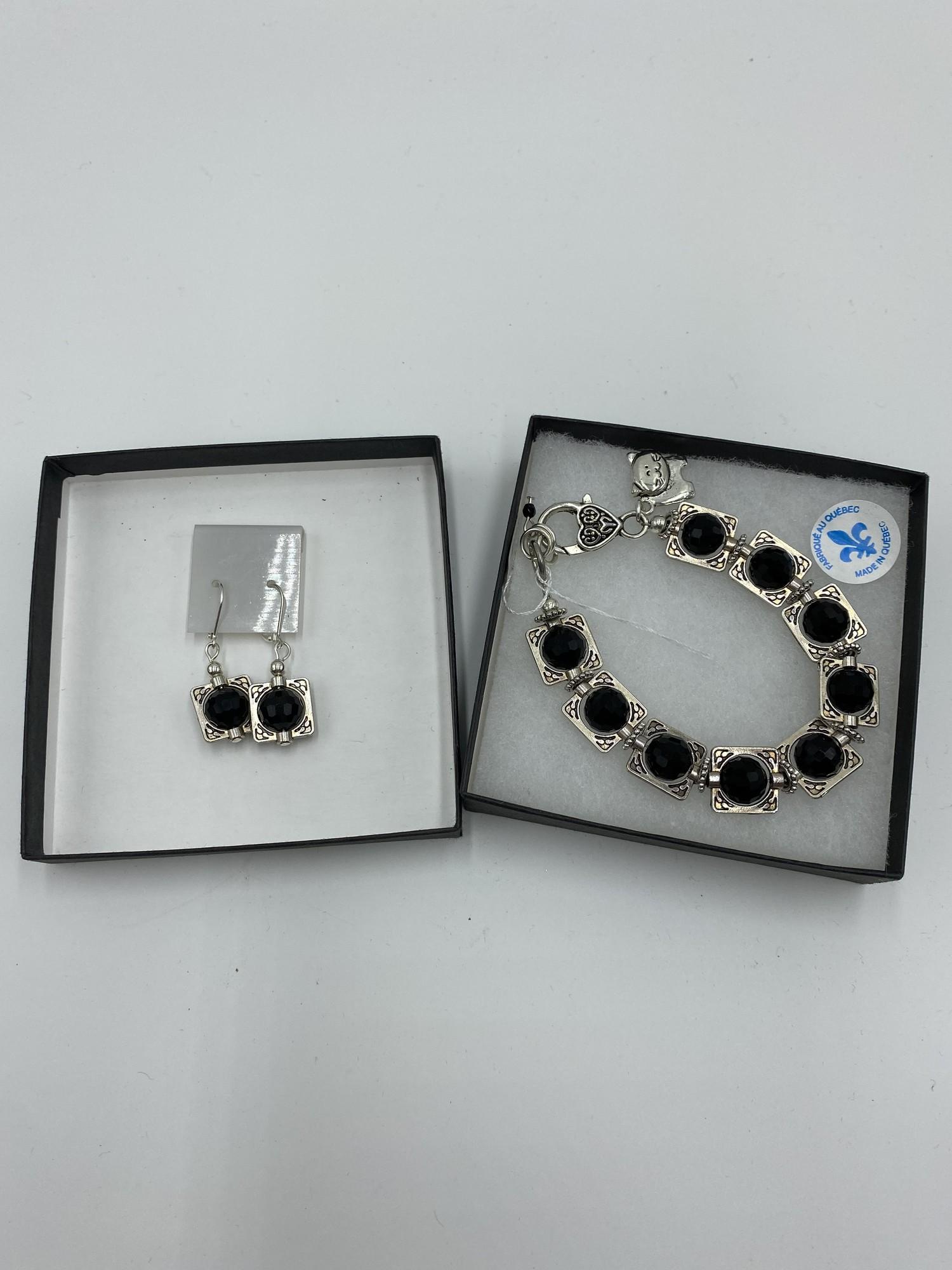 Bracelet/earings, Blk/slve, Size: None
