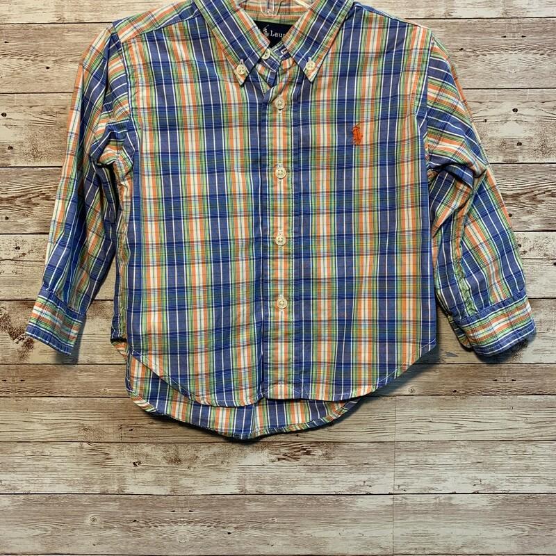 Ralph Lauren Plaid Shirt, Bl/org, Size: 12/18m Boys