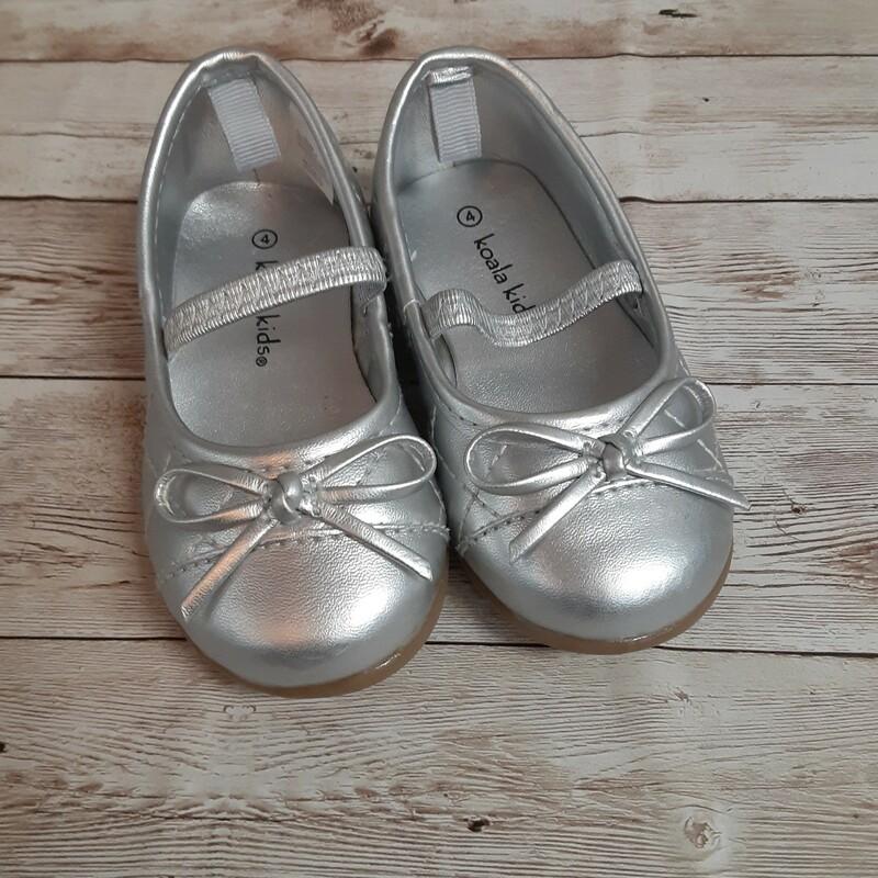 Koala Kids Toddler Flats, Silver, Size: Shoes 4