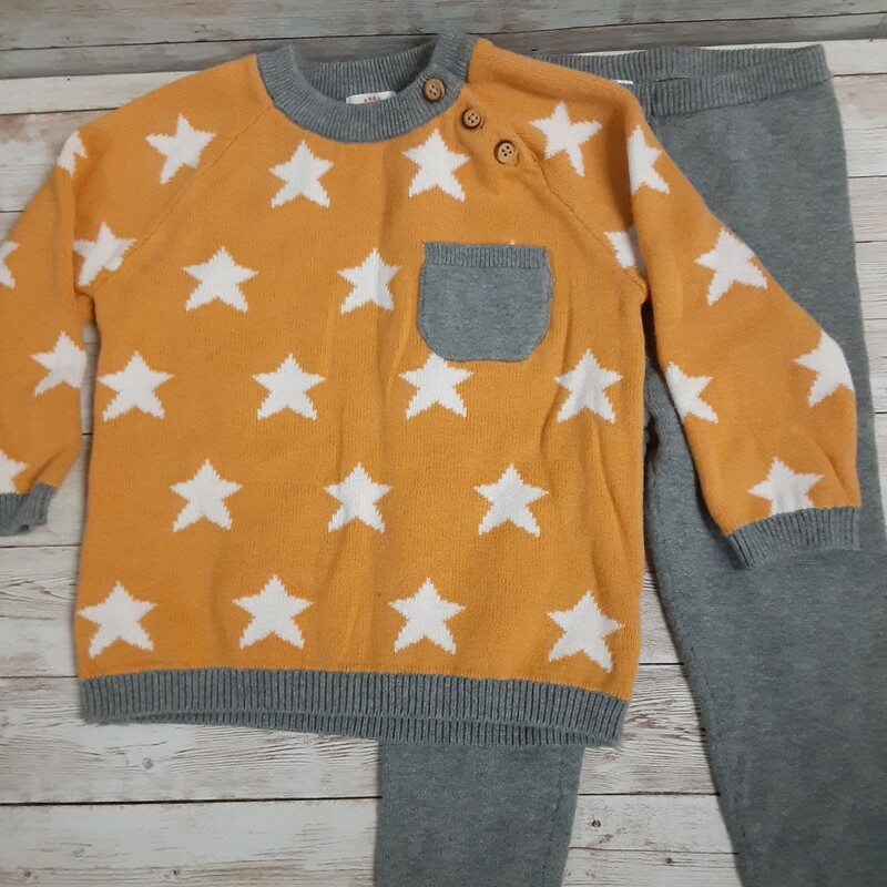 Cat&Jack Knit Outfit, Ylw/gry, Size: 18m Boys