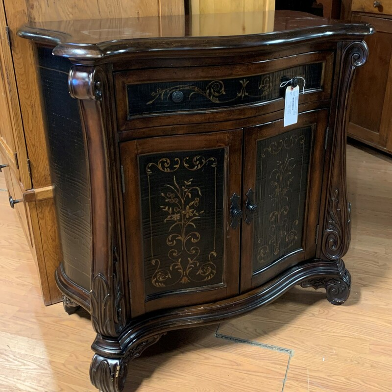 Sideboard Painted Ornate, Blk, 2dr Size: 40in x 39in x 21in