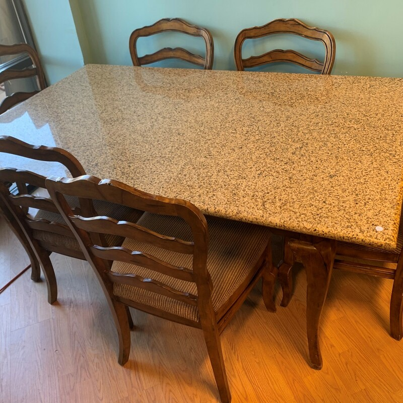 Dining Table Granite Top, Woodbase, 6 Chairs Size: 73in x 46in x 31in