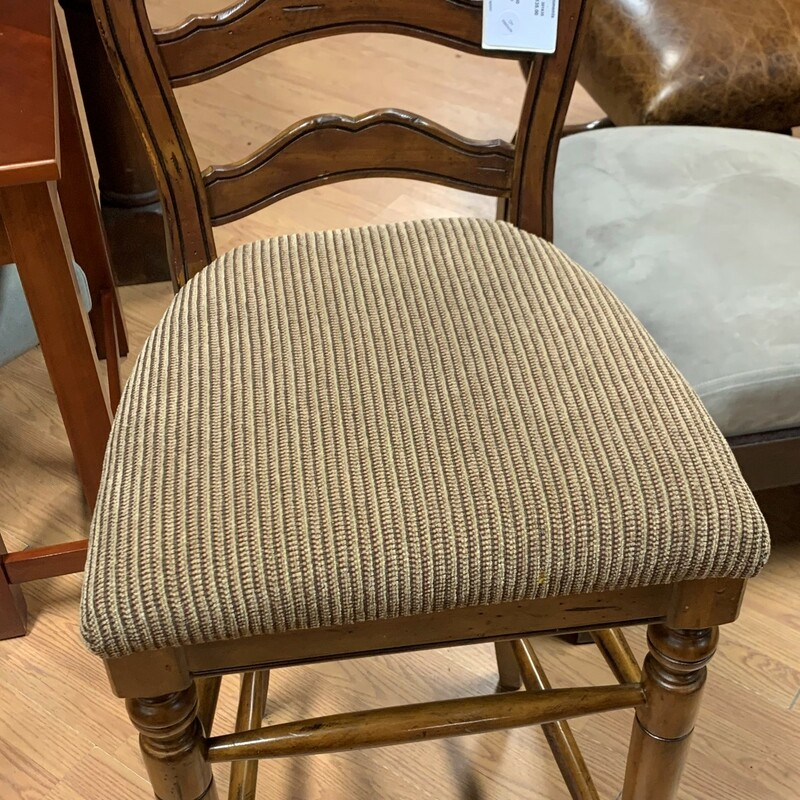 Wood/Fabric Barstool, Med Size: 44in x 19in x 18in  Seat: 31in