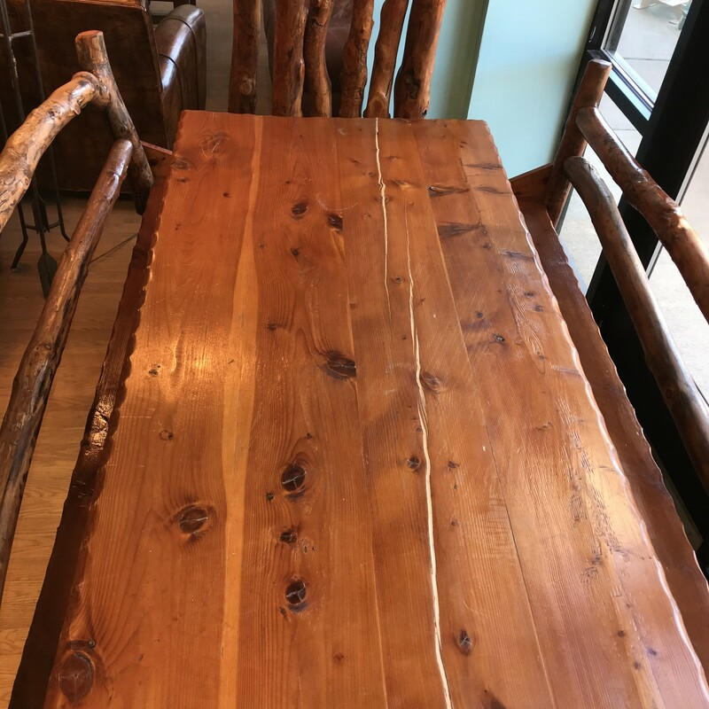 Dining Table Log 2 Chairs, Rustic, 2 Benches Size: 72in x 30in x 35in Benches 75in long