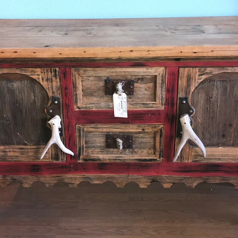 Rustic 2 Drawer 2 Door, Red, Antlers Size: 40in x 66in x 20in