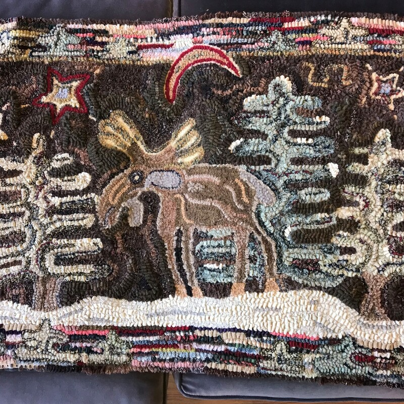 Local Artist Handhooked, Moose, L. Milne Size: 26in x 43in