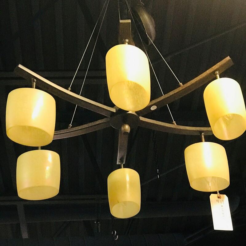 Metal & Glass Chandelier, Size: 30in x 41in