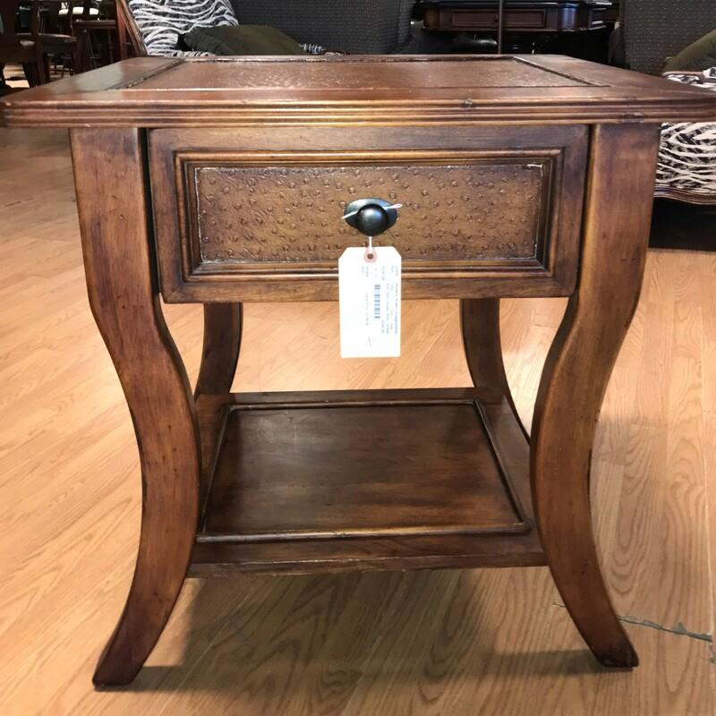 Side Table 1Drawer Shelf, Faux,  Hide Size: 26in x 26in x 24in