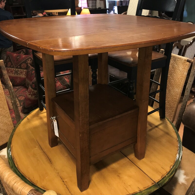 Fold Down Bistro Table, Brown, 2 Stools Size: 36in x 40in x 40in